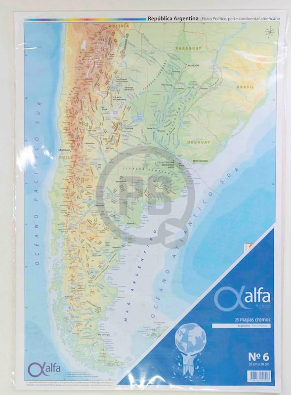 Mapa Alfa Nº 6 Republica Argentina Fisico Politico