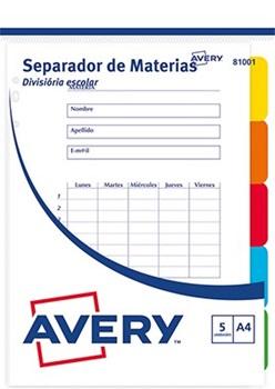 Separadores Avery A4 escolar x 5 posiciones reutilizables