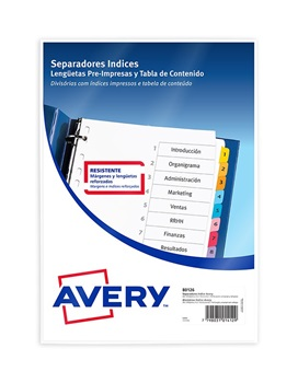 Separadores Avery A4 indice a-z multicolor x6