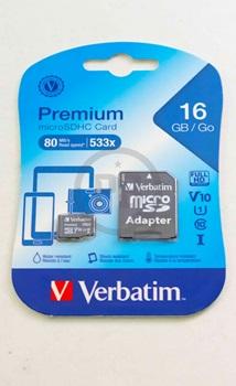 Memoria Verbatim Micro-SD 16 gb con adaptador clase 10