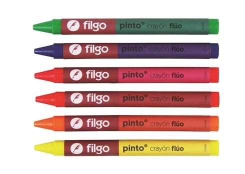 Crayones Filgo pinto x 6 cortos fluo