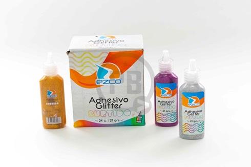 Adhesivo glitter Ezco 21 gramos x 12 colores surtido