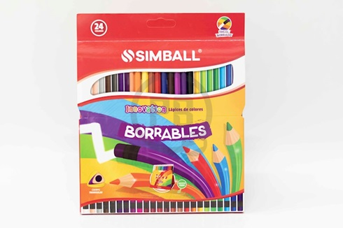 Lapices de colores Simball x 24 largas borrables
