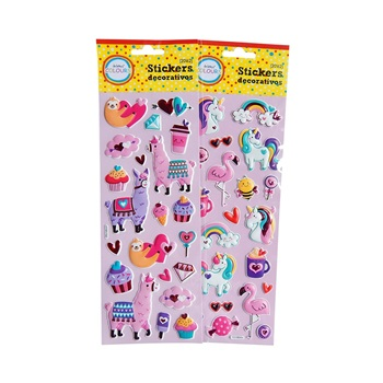 Stickers llama/unicornio pastel plancha 30 x 10 cm ART 20162