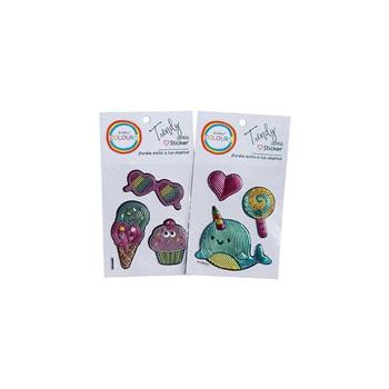 Sticker cupcake/unicornio/ballena metalizado 10,5 x 18 ART 20152