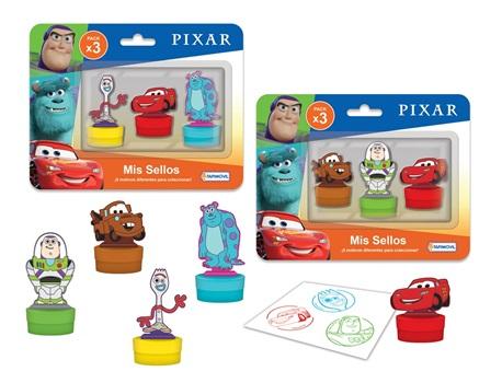 3 sellos con figura Disney pixar