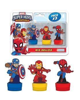 3 sellos con figura super hero