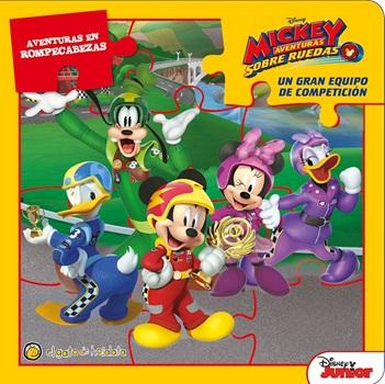 Libro de cuentos con rompecabezas Mickey aventuras tapa dura