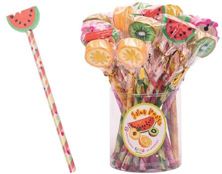 Lápiz con adorno goma Kikka 2d frutas