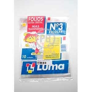 Folio Luma transparente escolar pp x 10 unidades