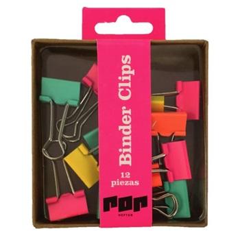 Caja binder clips colores divertidos - Hefter pop