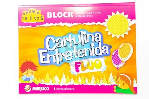 Cartulina Entretenida Muresco block 20 hs fluo 4 diseños