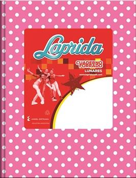 Cuaderno 19 x 23,5 Laprida ab3 lunares rosa 50 hojas rayado cosido tapa dura