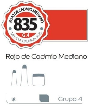 Acrílico Alba 6 x 18 ml 835-rojo de cadmio mediano