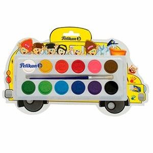 Acuarela pelikan bus x 12 colores escolar con pincel