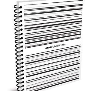 Cuaderno 29,7 Arte b&w tipo pvc blanca 80 hojas rayado espiral