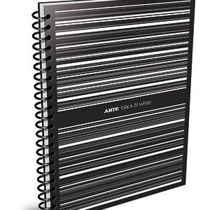 Cuaderno 29,7 Arte b&w tipo pvc negro 80 hojas rayado espiral