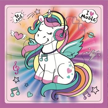 Puzzle Inkdrop 4 piezas 16 x 16cms unicornios