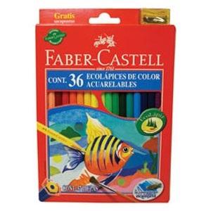 Lapices de colores Faber-Castell ecolapiz acuarel x 36 largo caja cartón