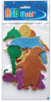 Goma eva glitter animales marinos 8cmx2 mm x10 unidades
