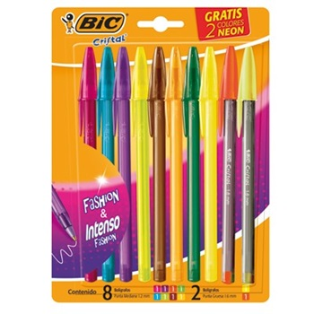 Bolígrafo Bic fashion blister x8 col + 2 neon