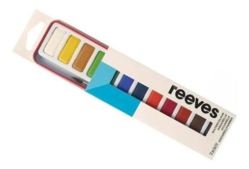 Acuarela Reeves lata x 12 pastillas + 1 pincel