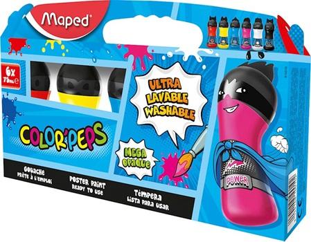 Temperas Maped x 6 - colores clásicos - valijita