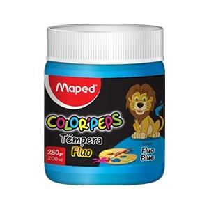 Tempera Maped color peps x 250 gramos azul fluo