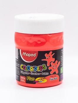Tempera Maped color peps x 250 gramos rojo fluo