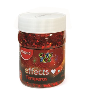 Tempera Maped color peps effect x 200 gramos rojo corazones