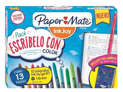 Set bolígrafo Paper Mate inkjoy gel x12 + libreta