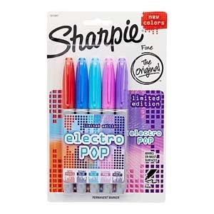Marcador Sharpie electo pop fino x 5 un. blister