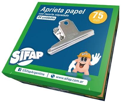 Aprieta papel niquelado Sifap 75 mm c/u