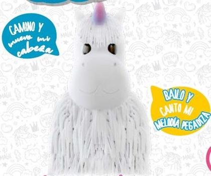 Peluche con movimiento y sonido peludito unicornio