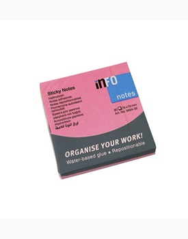 Block adhesivo Info notes 75 x 75 rosa fluo x 80 hs