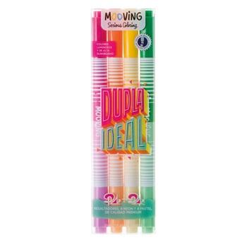 Resaltador coloring x 4 duo (neon/pastel)